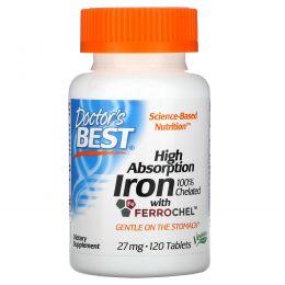 Doctor's Best, Высокая усваиваемость с Ferrochel, 27 мг, 120 таблеток