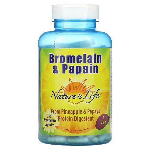 Nature's Life, Бромелайн и папаин, 250 вегетарианских капсул