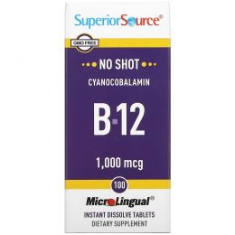 Superior Source, MicroLingual, цианокобаламин B12 1000 мкг, 100 таблеток