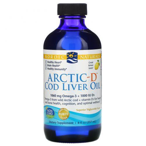 Nordic Naturals, Масло печени арктической трески с витамином D, лимон, 8 жидких унций (237 мл)