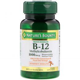 Nature's Bounty, B-12, 1000 мг, 60 быстрорастворимых таблеток