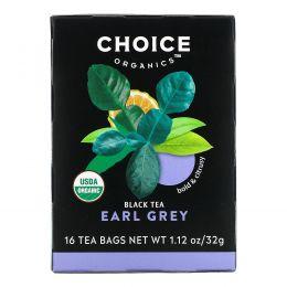 Choice Organic Teas, Органический, Эрл Грей, черный чай, 16 чайных пакетиков, 1,1 унции (32 г)
