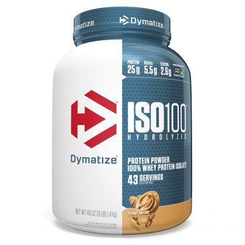 Dymatize Nutrition, ISO 100 гидролизованный, 100% изолят сывороточного протеина, арахисовое масло, 48 унций (1,4 кг)