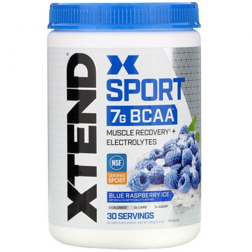 Scivation, Xtend Sport, 7г аминокислот с разветвленной цепью (BCAA), лед из голубой малины, 345 г (12,2 унции)