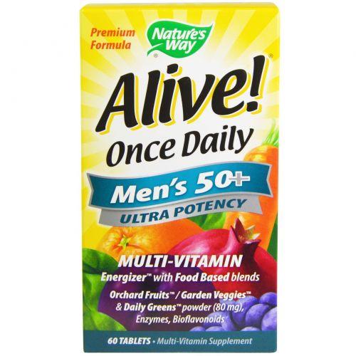 Nature's Way, Alive! Once Daily, мультивитамин для мужчин старше 50 лет, 60 таблеток