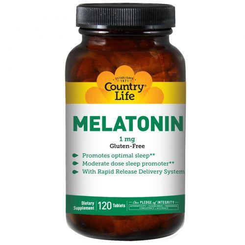 Country Life, Мелатонин, 1 мг, 120 таблеток