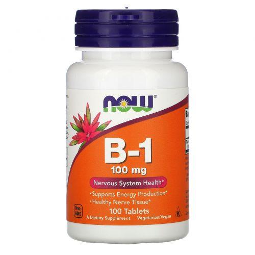 Now Foods, B-1, 100 мг, 100 таблеток