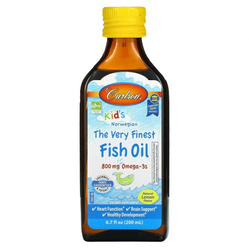 Carlson Labs, Kid's, Norwegian, The Very Finest Fish Oil, Natural Lemon Flavor, 6.7 fl oz (200 ml)