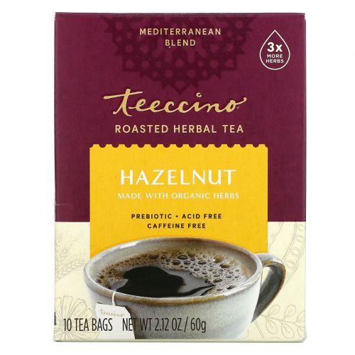 Teeccino, Травяной кофейный напиток, средней степени обжарки, без кофеина, фундук, 10 Т-пакетиков, 2,12 унции (60 г)