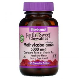 Bluebonnet Nutrition, EarthSweet, метилкобаламин, витамин B-12, натуральный вкус малины, 5000 мкг, 60 жевательных таблеток