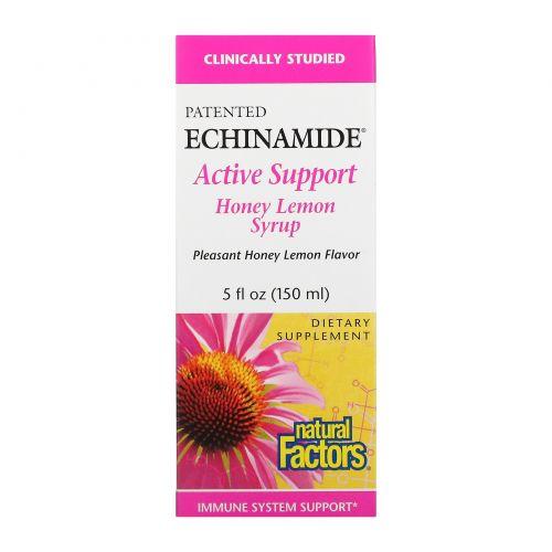 Natural Factors, Активная защита Echinamide, Лимонно-медовый сироп, 5 жидких унций (150 мл)