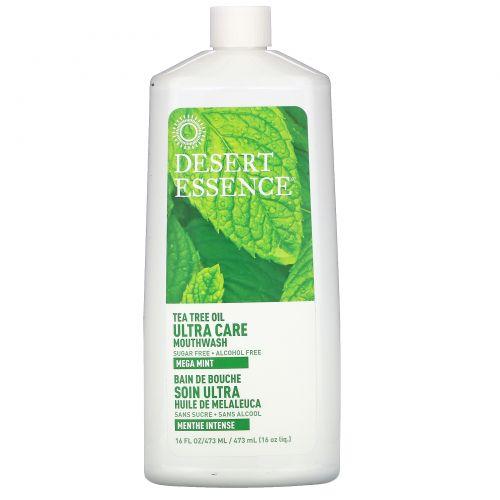 Desert Essence, Жидкость для полоскания рта Ultra Care, мега мята, 16 жидких унций (480 мл)