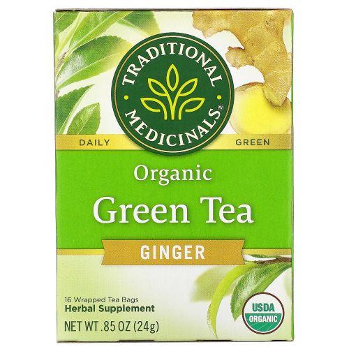 Traditional Medicinals, Органический зеленый чай с имбирем, 16 пакетиков, 0,85 унции (24 г)