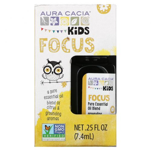 Aura Cacia, Kids, Pure Essential Oil Blend, Focus, 0.25 fl oz (7.4 ml)