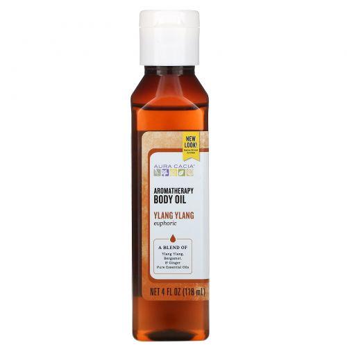 Aura Cacia, Масло для тела с эффектом ароматерапии, иланг-иланг, 4 жидкие унции (118 мл)