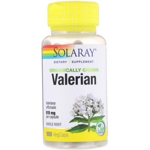 Solaray, Органически выращенная валериана, 515 мг, 100 капсул с оболочкой из ингредиентов растительного происхождения