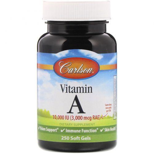 Carlson Labs, Витамин A, 10,000 МЕ, натуральный, 250 гелевых капсул