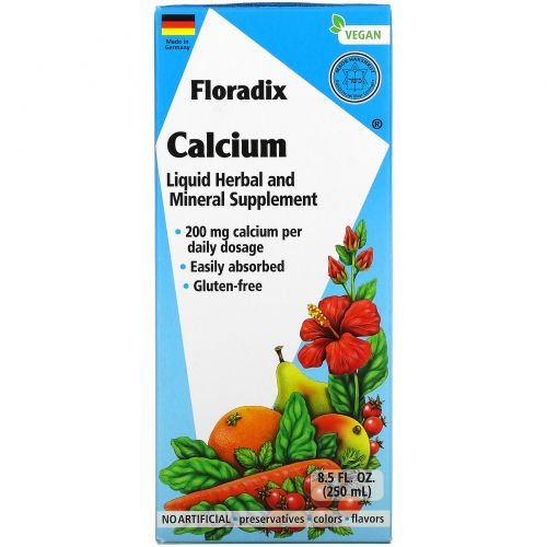 Gaia Herbs, Floradix, Calcium, Liquid Herbal and Mineral Supplement, 200 mg, 8.5 fl oz (250 ml)