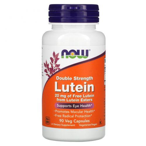 Now Foods, Лютеин, двойная сила, 90 капсул на растительной основе