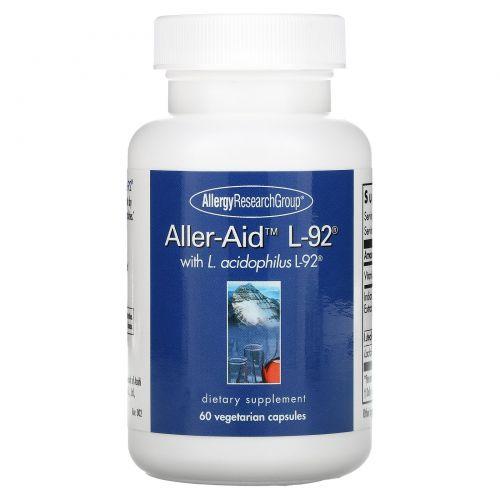 Allergy Research Group, Aller-Aid L-92 с L. Acidophilus L-92, 60 вегетарианских капсул