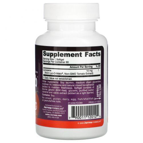 Jarrow Formulas, Ликопен Lyco-Sorb, 10 мг, 60 мягких капсул