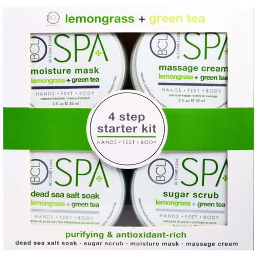 Petal Fresh, BCL Spa, Hands, Feet and Body, Purifying and Antioxidant Rich, Lemongrass plus Green Tea, 4 Piece Kit - 3 fl oz (85 ml) Each