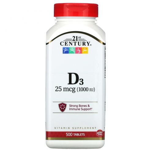 21st Century, Vitamin D3 , 1000 IU, 500 Tablets