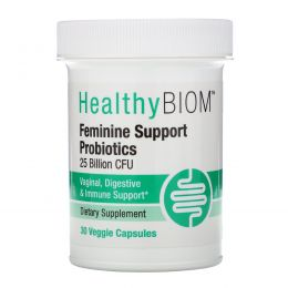 HealthyBiom, Пробиотики для поддержания женского здоровья, 25млрд КОЕ, 30растительных капсул