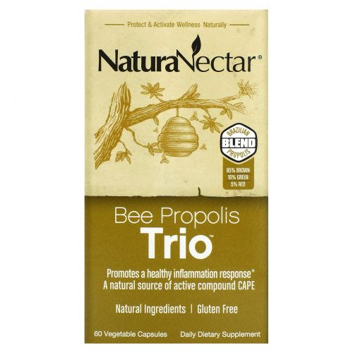 NaturaNectar, Bee Propolis Trio, 60 вегетарианских капсул