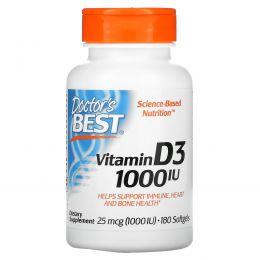 Doctor's Best, Витамин D3, 25 мкг (1000 МЕ), 180 мягких таблеток