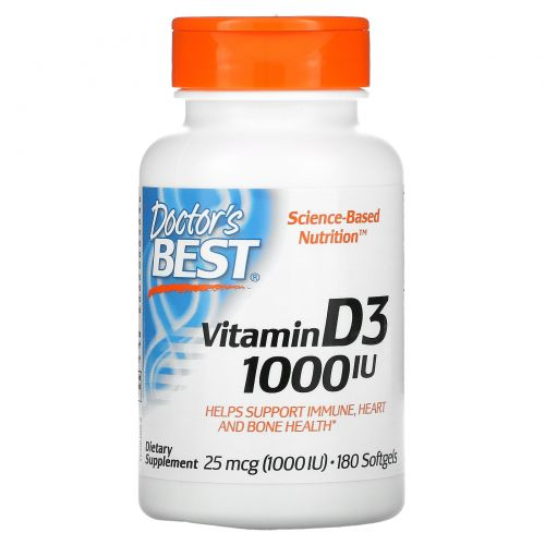 Doctor's Best, Витамин D3, 1000 МЕ, 180 капсул