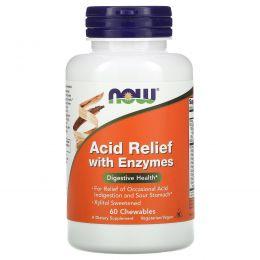 Now Foods, Добавка для снижения кислотности с ферментами, 60 жевательных таблеток