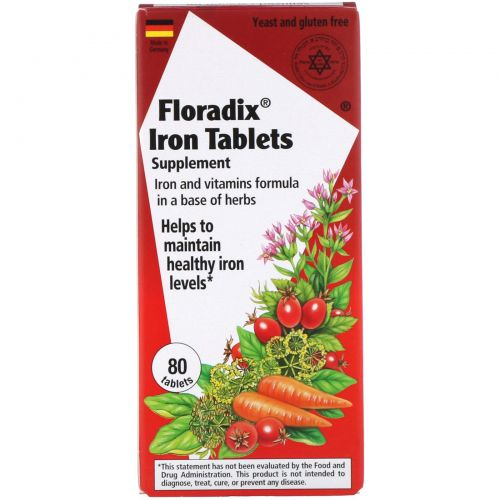 Flora, Floradix, Железосодержащая добавка, 80 таблеток