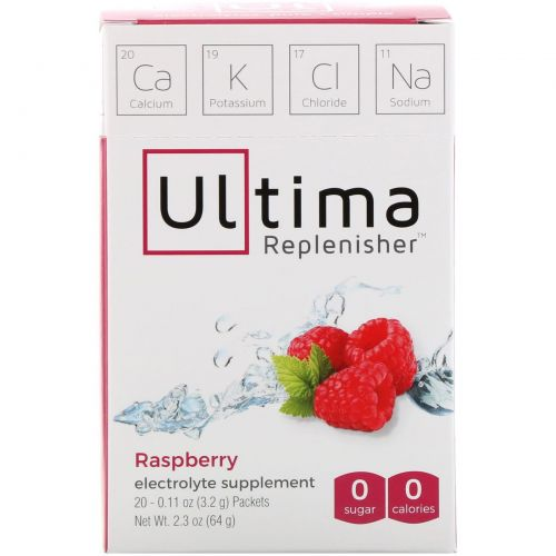 Ultima Replenisher, порошок электролитов с малиновым вкусом, 20 пакетиков по 0,11 унции (3,2 г)