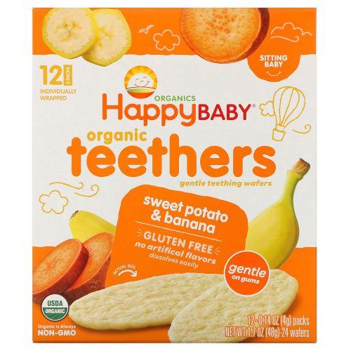 Nurture Inc. (Happy Baby), Gentle Teethers, органические вафли для прорезывния, банан и сладкий картофель, 12 шт (в упаковке по 2), 4 г (0,14 унций) каждая