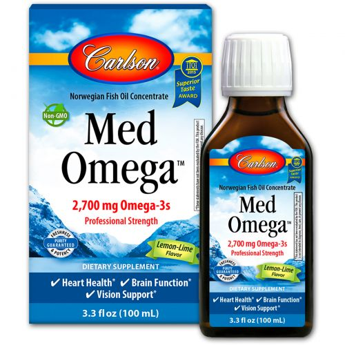 Carlson Labs, Med Omega, Lemon-Lime Flavor, 2,700 mg, 3.3 fl oz (100 ml)