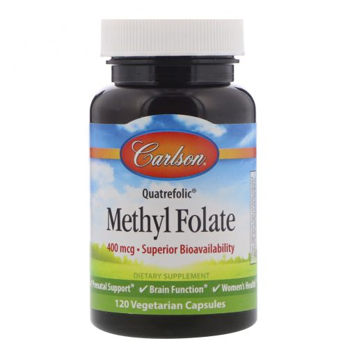 Carlson Labs, Метил фолат, 400 мкг, 120 вегетарианских капсул