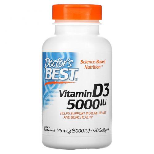 Doctor's Best, Best, витамин D3, 5000 МЕ, 720  гелевых капсул