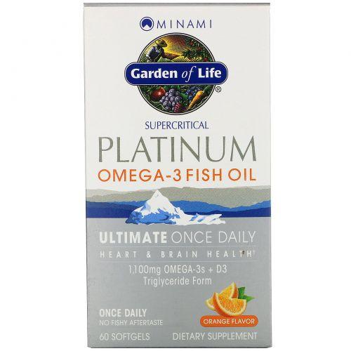 Minami Nutrition, MorEPA-платинум, Омега-3 + D3, вкус апельсина, 60 мягких таблеток