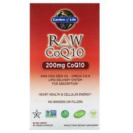 Garden of Life, Коэнзим Q10 из необработанных продуктов, 200 мг, 60 вегетарианских капсул