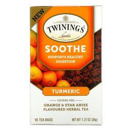 Twinings, Успокаивающий травяной чай, куркума, апельсин и анис звездчатый, без кофеина, 18 пакетиков по 1,27 унц. (36 г)