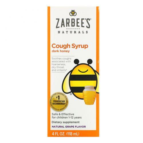 Zarbee's, Полностью натуральный детский сироп от кашля, от 12 месяцев, с натуральным виноградным вкусом, 4 жидких унции