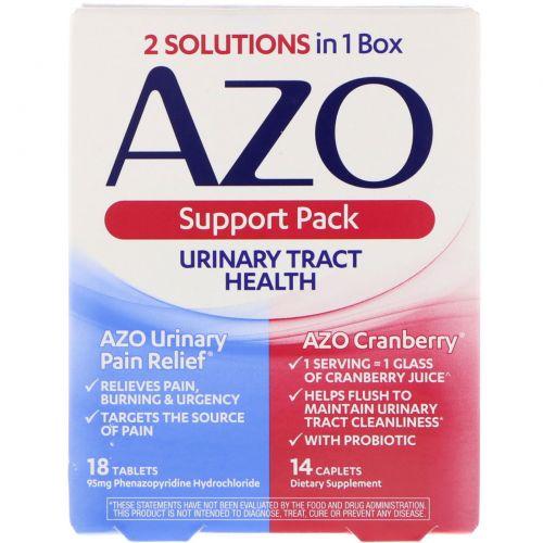 Azo, Здоровье мочевыводящих путей, поддерживающий комплект, 18 таблеток, 14 капсул