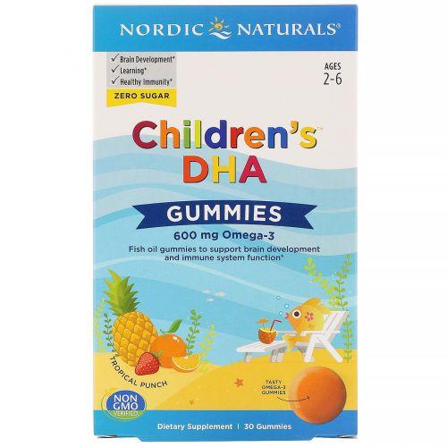 Nordic Naturals, Children's DHA, жевательные таблетки с ДГК, со вкусом тропических фруктов, 600мг, 30жевательных таблеток