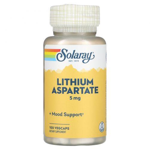 Solaray, Лития аспартат, 5 мг, 100 капсул