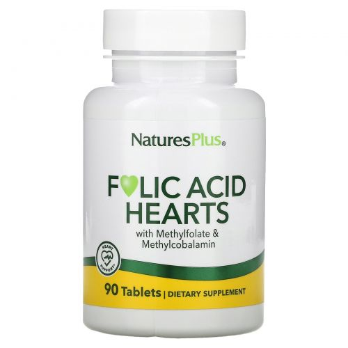 Nature's Plus, Folic Acid Hearts, 400 mcg, 90 Tablets
