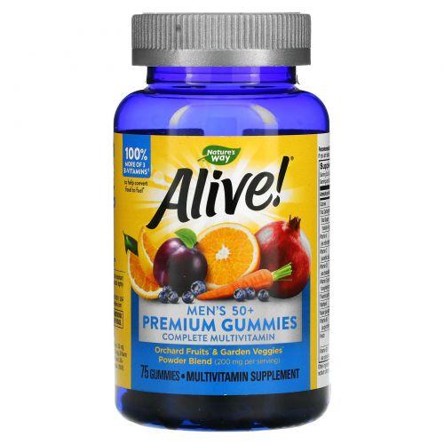 Nature's Way, Alive! Жевательные мультивитамины и мультиминералы для мужчин 50+, 75 жевательных мармеладок