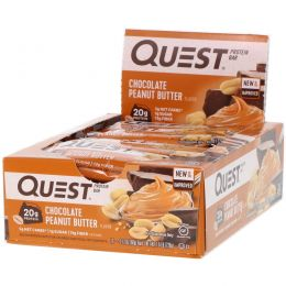 Quest Nutrition, Quest Protein Bar, Chocolate Peanut Butter, 12 Bars, 2.12 oz (60 g) Each