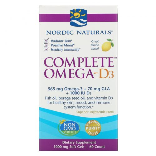 Nordic Naturals, Полный Омега-D3, лимон, 1000 мг, 60 капсул