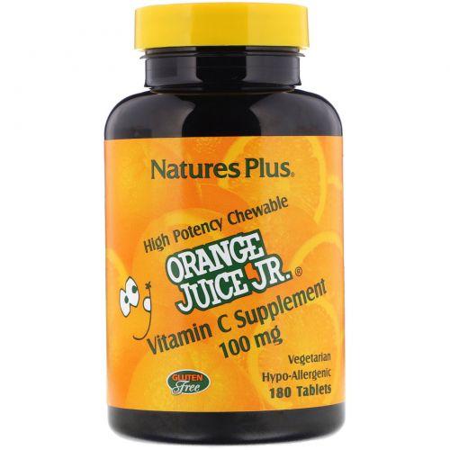 Nature's Plus, Витамин С из апельсинового сока, 100 мг, 180 таблеток
